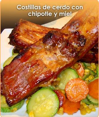 COSTILLAS DE CERDO CON CHIPOTLE Y MIEL