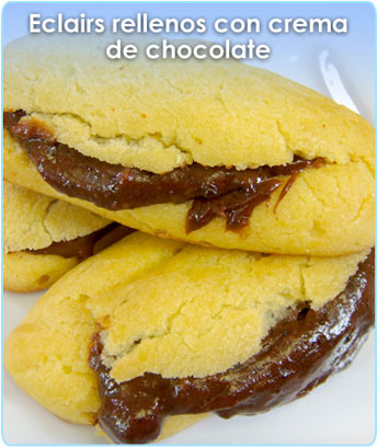 ECLAIRS RELLENOS CON CREMA DE CHOCOLATE