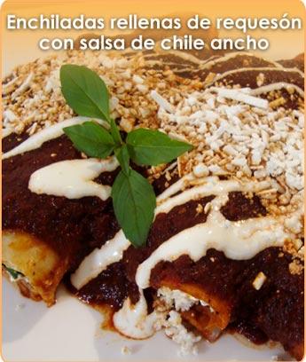 ENCHILADAS RELLENAS DE REQUES�N CON SALSA DE CHILE ANCHO