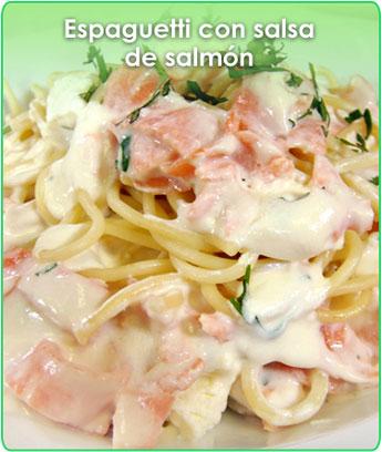espaguetti con salsa de salmón