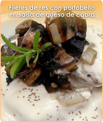 FILETE DE RES CON PORTOBELLO EN SALSA DE QUESO DE CABRA