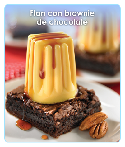 FLAN CON BROWNIE DE CHOCOLATE