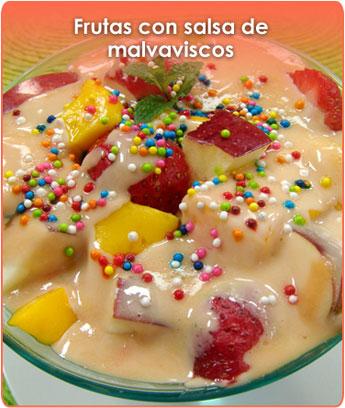 frutas con salsa de malvaviscos