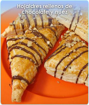 HOJALDRES RELLENOS DE CHOCOLATE Y NUEZ