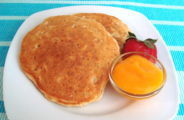 hotcakes de avena con salsa de mango