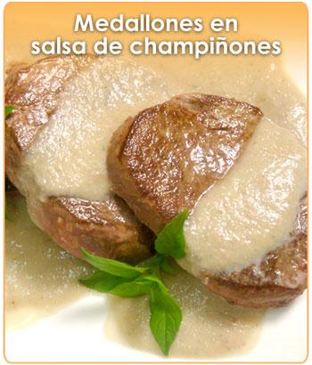 MEDALLONES EN SALSA DE CHAMPIÑONES
