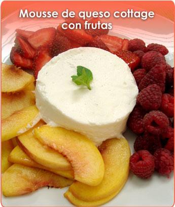 mousse de queso cottage con frutas