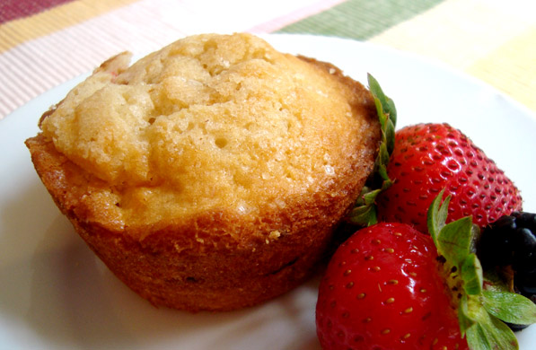 muffin de fresa con chocolate blanco