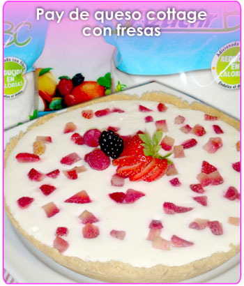 pay de queso cottage con fresas