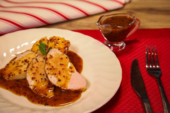pechuga de pavo con salsa de mostaza y miel
