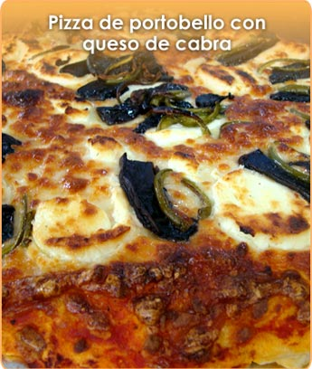 PIZZA DE PORTOBELLO CON QUESO DE CABRA
