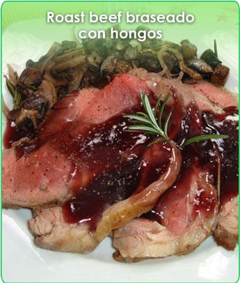 roast beef braseado con hongos
