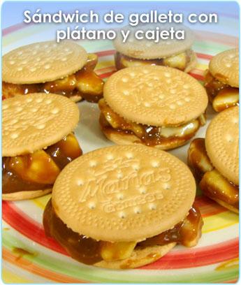 SANDWICH DE GALLETA CON PLATANO Y CAJETA