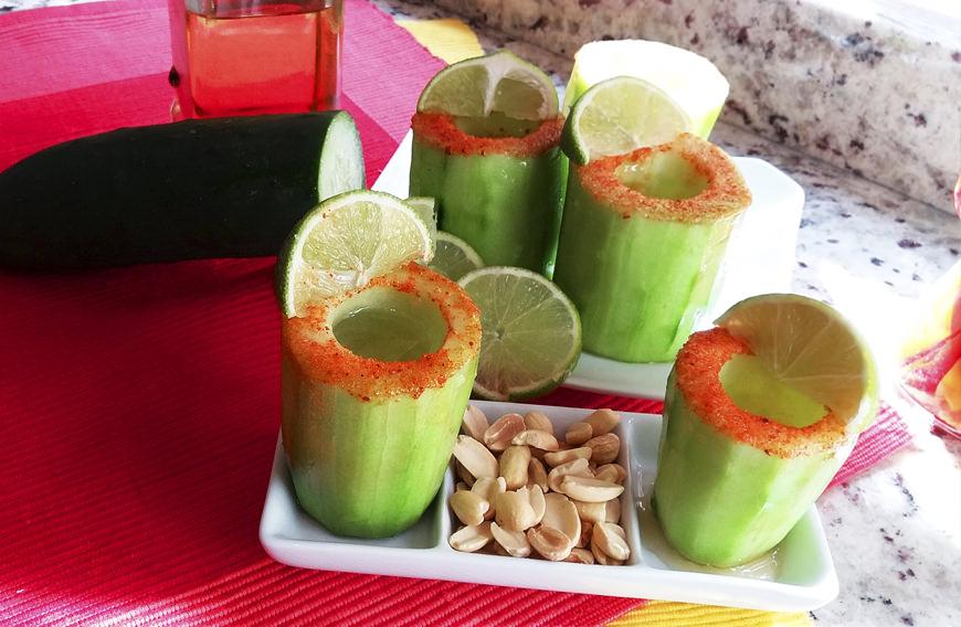 Receta para pteparar vasitos de pepino con tequila
