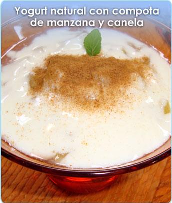 YOGURT NATURAL CON COMPOTA DE MANZANA Y CANELA
